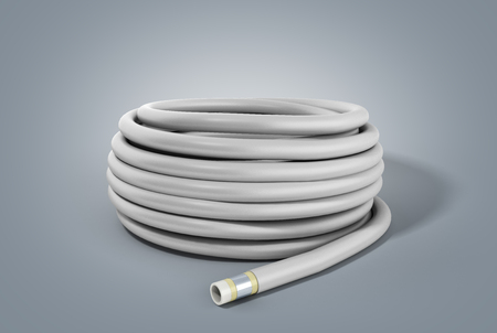 hose of plastic water pipes in layers 3d render on grey Stock Photo