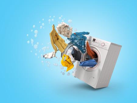 Lavadora y ropa voladora sobre fondo azul.