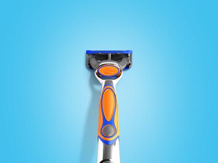 Mens razor 3d render on blue background