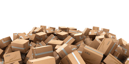 modern delivery concept mountain from the boxes as a background 3d render Stock Photo