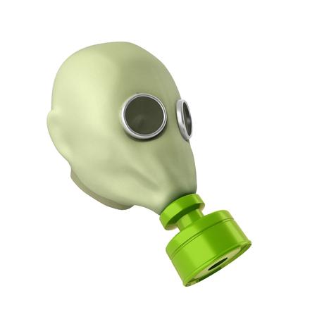 Old vintage gas mask 3d render on a white background