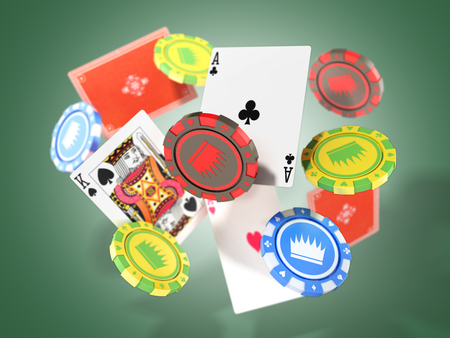modern concept of casino games Falling casino chips and aces with blurred elements 3d render isolated on green
