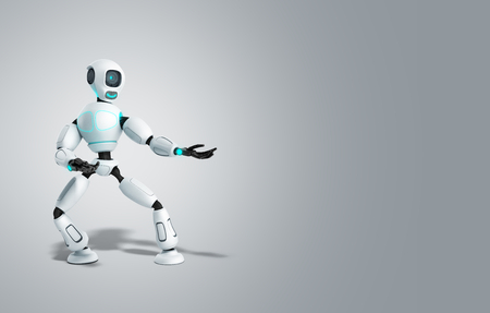 modern concept of product presentation robot points to a thing standing nearby 3d render on grey