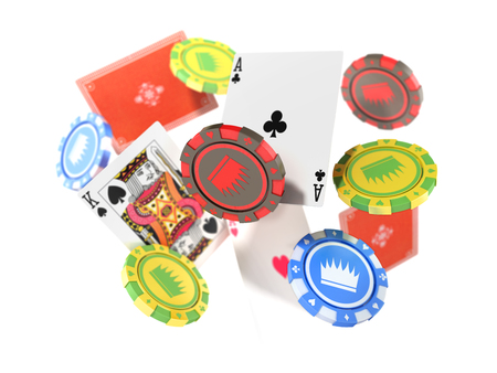 modern concept of casino games Falling casino chips and aces with blurred elements 3d render isolated on white Stock Photo