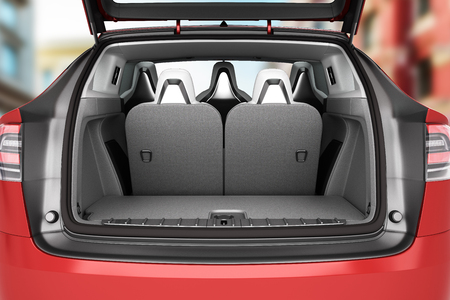 Empty car minivan trunk with folded rear seats A lot of space 3d render