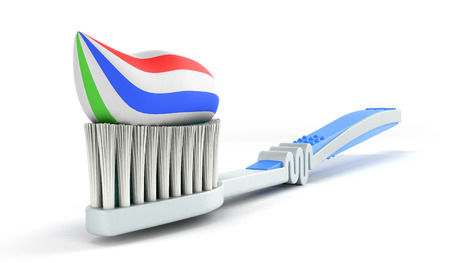 blue toothbrush with toothpaste close up 3d render on a vhite background Stock Photo