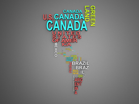 The amerika map with all states and their names 3d illustration on grey
