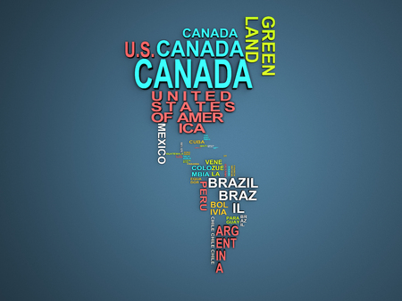 The amerika map with all states and their names 3d illustration on blue