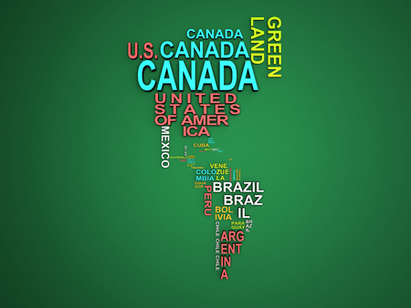 The amerika map with all states and their names 3d illustration on green