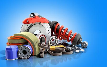 concept of vehicle maintenance automotive supplies 3d render on a blue background 版權商用圖片