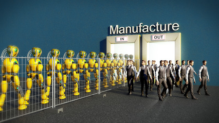 concept of production automation A robot column enters production instead of people 3d render