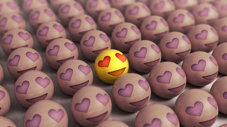 Emojis icons with facial expressions the concept of love joyful balls with hearts instead of eyes a general delight
