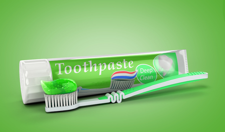 modern concept of the design of a tube of toothpaste toothpaste tube with toothbrush 3d render on green Foto de archivo - 107155629
