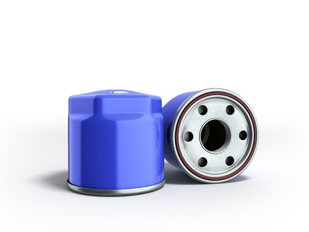 automobile oil filter 3d render on white