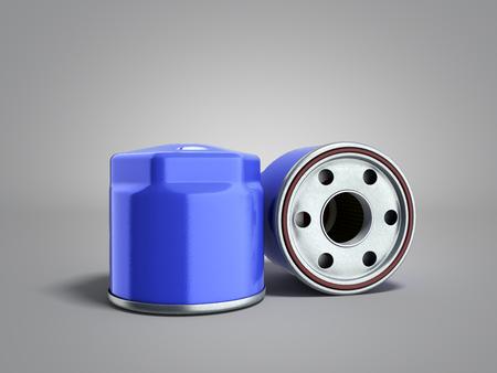 automobile oil filter 3d render on grey