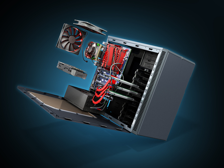 open PC case with internal parts motherboard cooler video card power supply HDD drives 3d render on blue Stock Photo
