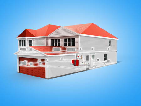 private house heating system building concept 3d render on blue