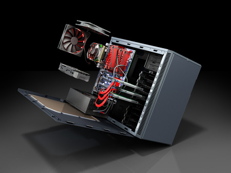 open PC case with internal parts motherboard cooler video card power supply HDD drives 3d render on grey Stockfoto