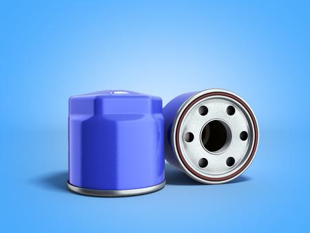 automobile oil filter 3d render on blue