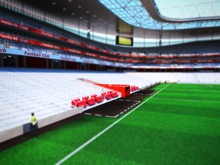 footboll stadium 3d rendering the imaginary soccer arena Stock Photo