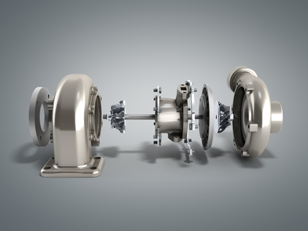 Automotive turbocharger turbine 3d render on grey Фото со стока