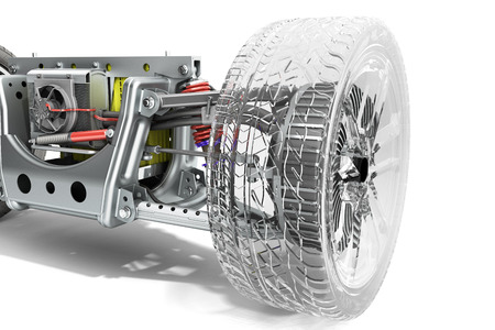 electric car cystem wheelbase with electric vehicle drive system and battery pack 3d render on white
