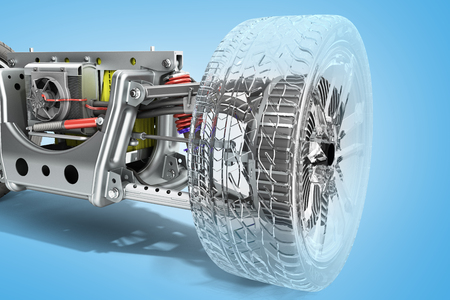 electric car cystem wheelbase with electric vehicle drive system and battery pack 3d render on blue