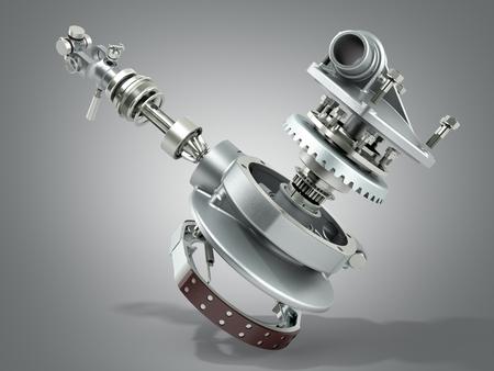 truck wheel drive and braking system 3d render on grey Reklamní fotografie