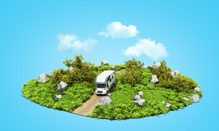 modern concept of family travel The house on wheels rides along the road on a patch of nature 3d render on blue