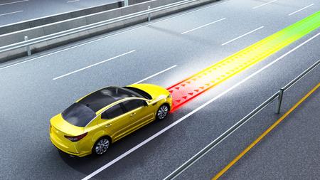 Concept moderne d'une voiture sûre Système d'évitement de collision image de rendu 3D Banque d'images