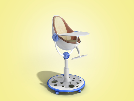 modern baby chair for feeding 3d render image for advertising on color gredient Foto de archivo