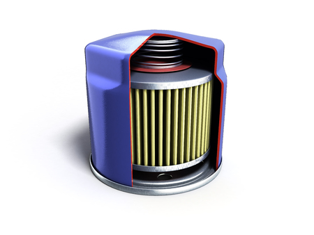internal structure of automobile oil filter 3d render on white
