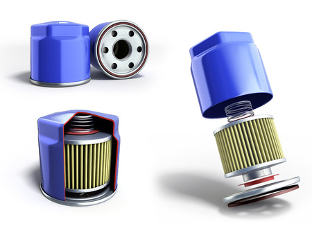collection of automobile oil filters 3d render on white