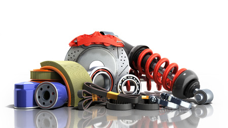 concept of vehicle maintenance automotive supplies 3d render on a white background 版權商用圖片