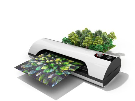 Modern high resolution wide format printing concept The real forest is transformed into an image passing through the printer 3d render on white