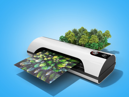 Modern high resolution wide format printing concept The real forest is transformed into an image passing through the printer 3d render on blue