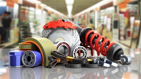 concept of vehicle maintenance automotive supplies 3d render on a sale background