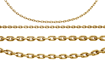 collection of seamless metal chains colored gold 3d render on white