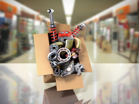 modern concept of vehicle maintenance automotive supplies delivery car parts in open box 3d render on a sale background