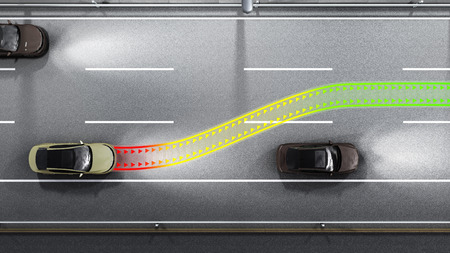 modern concept of a safe car Collision monitoring system 3d render image