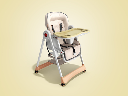 modern baby chair for feeding 3d render image for advertising on color background