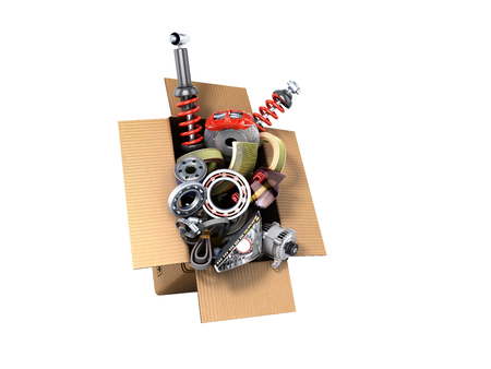 modern concept of vehicle maintenance automotive supplies delivery car parts in open box 3d render on a white no shadow