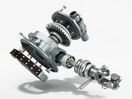 truck wheel drive and braking system 3d render on white