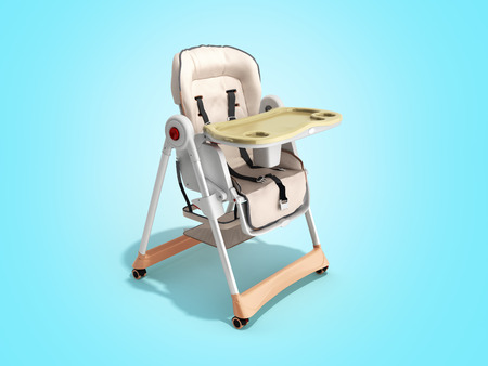 modern baby chair for feeding 3d render image for advertising on blue background