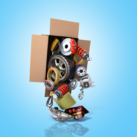 Modern concept of vehicle maintenance automotive supplies delivery car parts in open box 3d render on a blue 版權商用圖片