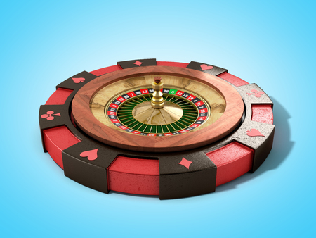 Modern concept of the casino logo roulette is on playing props 3d render on blue Reklamní fotografie