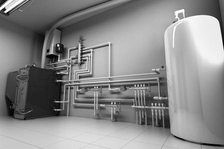 Caldera de agua caliente Sala de calderas con sistema de calefacción 3D Render Foto de archivo