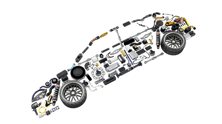 Car silhouette made of parts
