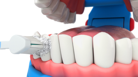 Toothbrush cleaning teeth in mouth 3d render on white Standard-Bild