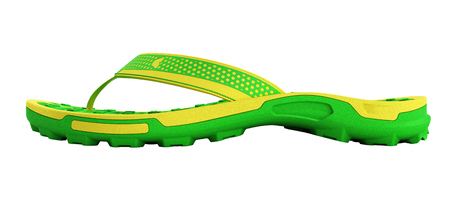 yellow and green rubber male beach slipper sneaker with perforation 3d render isolated on white no shadow